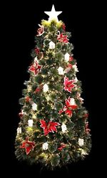 Little White House Decorated Fiber Optic Christmas Tree Pre-lit With Led Lights