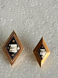 Two Antique 1903 10k Solid Gold Delta Kappa Epsilon Fraternity Pin Pins
