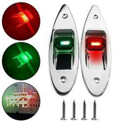 12v Marine Boat Led Navigation Side Bow Lights Lamps Stainless Steel Red / Green