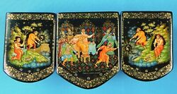 Vintage Russian Russia Holuy Handpainted Signed Fairytale Laquer Trinket Box