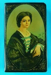 1993 Russian Russia Fedoskino Handpainted Signed Young Women Laquer Trinket Box