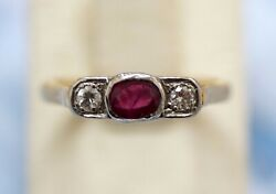 Retro 18k Yellow Gold Ring With Diamonds And Ruby Size - 7 Signed
