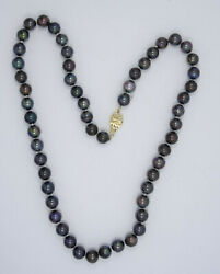 Superb 7mm Black South Sea Tahitian Pearl Necklace 14k Gold Clasp 17 / 29.7g