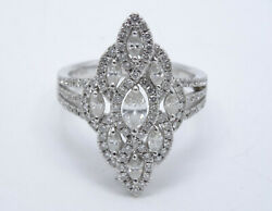 Superb Solid 18k White Gold 1.5 Tcw Marquise And Round Diamond Cocktail Ring