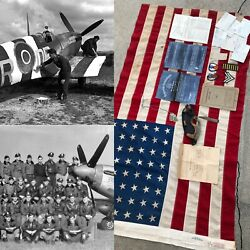 Wwii 370th Fighter Gp. Michael Lariccia D-day Normandy France Relic Flag Lot