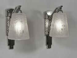 Muller Freres Pair Of French 1930 Art Deco Wall Sconces ......... Lights Lamp