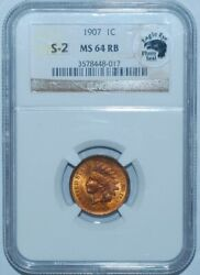 1907 Ngc Ms64rb Red And Brown Fs-302 S-2 Rpd Eagle Eye Photo Seal Indian Cent