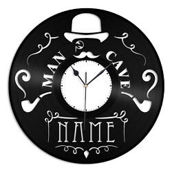 Man Cave Vinyl Wall Clock Record Unique Gift for Friends Home Room Decoration