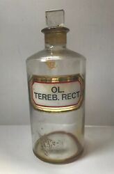 Oil Of Turpentine Reverse Glass Label Bottle Apothecary Drug Store Medicine