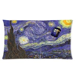 Twins Side Print Doctor Who Starry Night Pillow Cases 36x20 Size Two Side