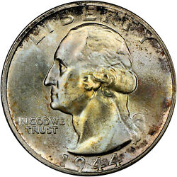 1944-s 25c Ms67 Ngc Cac Ddo Fs-101 Variety Doubled Die Washington Toned Toning