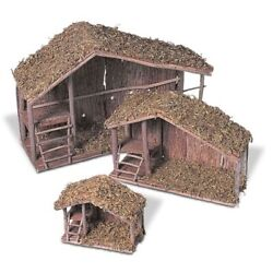 Solid Wood Nativity Stables Nested Set Of 3each With Moss Covered Roof