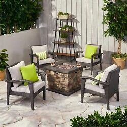 Ella Outdoor 4 Club Chair Chat Set With Fire Pit