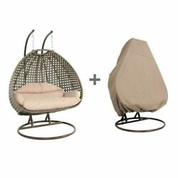 2 Person Outdoor Strong Rattan Hanging Wicker Swing Chair Egg Swing Xl W/ Cover