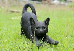NEW Stretching Large Black Cat Figurine Life Like Statue Home Garden