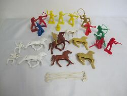 Vintage Tim Mee Toys Plastic Cowboy And Indians Horses Riders Lot
