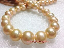 Aaaaa 1713-15mm Round Real Natural South Sea Gold Pink Pearl Necklace 14k