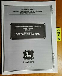 John Deere 54 Quick-hitch Front Blade S/n 10001- For X400 X500 Operator Manual