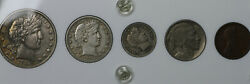 1913 Date Set - Barber 50c/25c/10c Buffalo Nickel And Lincoln Cent