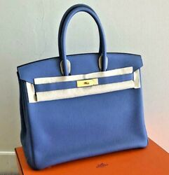 Brand NEW Invoice HERMES BIRKIN 35cm Blue Brighton Togo Gold hardware bag