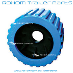 X12 Boat Trailer Wobble Rollers. 3 Blue Ribbed 26mm Bore. Larger Bore Roller.