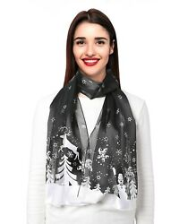 Womens Christmas Theme Lightweight Scarf Snowy Day with Gift Box 13