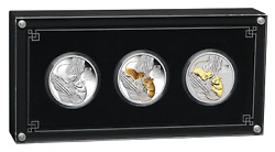 2020 Lunar Series Iii Year Of The Mouse 1oz Silver Trio 1 3-coin Set 3oz-total