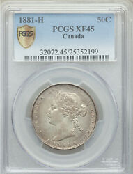 1881h Fifty Cents Pcgs Xf-45 Beauty High Grade Ef-au Queen Victoria Canada 50¢