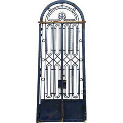 Fine Antique French Beaux-arts Blue Wrought Iron Double Door Entry C. 1925