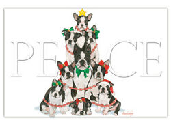 Boston Terrier Christmas Cards Set of 10 cards amp; 10 envelopes