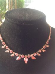 Vintage Weiss Signed Pink Rhinestone Choker Necklace Costume Jewelry Ladies