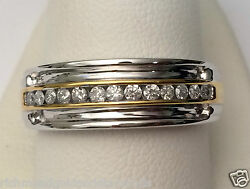 Clearance White And Yellow Gold Mens Wedding Anniversary Diamonds Ring Band Sale