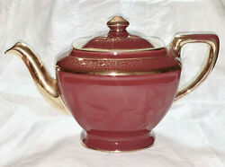 VINTAGE HALL TEAPOT USA 6 CUP 0113S 17 BURGUNDY-TERRACOTTA COLOR WITH GOLD GILT