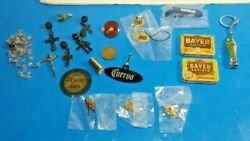 Assorted Junk Drawer Lot Vintage Aspirin Containers Pinbacks Coin And More