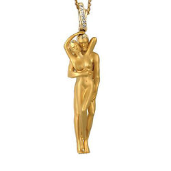 Fine Jewelry 18 Kt Real Solid Yellow Gold Promise Love Couple Necklace Pendant