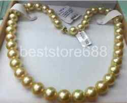 single strand 14-15mm south sea round natural gold pearl necklace 18inch 14k