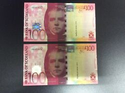 Bank Of Scotland 2 X Consecutive Numbers Andpound100 Banknotes. August 2014 Issue.