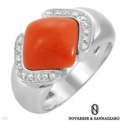 Novarese And Sannazzaro Italy 18k Gold Ring. Super Clean Diamonds And Coral. New