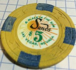 """Vintage Sands """"a Place In The Sun"""" Las Vegas Nevada Closed Casino 5 Chip"""