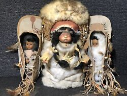 Native American Indian Papoose Cradle Board Doll Fur Wall Hanger Set