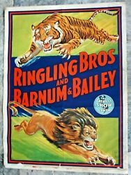 Authentic 45 Ringling Bros And Barnum And Bailey Circus Poster Charging Lion Tiger