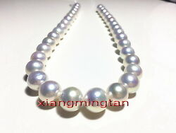Australia Top 2212-14mm Real Natural South Sea Round White Pearl Necklace 14k