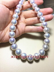 Australia Top 2412-13mm Real South Sea Perfect Round White Pearl Necklace 14k
