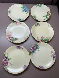 Antique Set Of 6 Hand Painted Floral Yellow Background W Gilt Trim Dandco. Plates