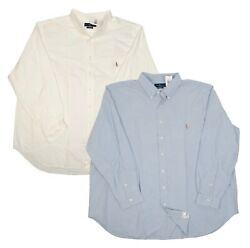 Big Tall Men's Classic Fit Oxford Dress Shirts White Blue Multisize