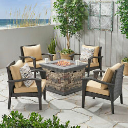 Ilse Outdoor 4 Club Chair Chat Set With Fire Pit
