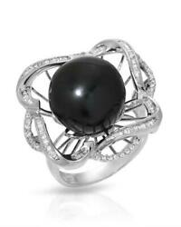 18k W/gold Ring Genuine Diamonds And 13.5 Mm Tahitian Pearl. Weight 10.5 G. New