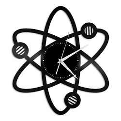 Science Atom Vinyl Wall Clock Unique Gift for Friends Home Room Decoration