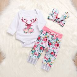 Infant Baby Girl Christmas Xmas Outfit Deer Romper Tops Flower Pants Clothes Set
