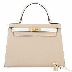 Hermes Kelly 28 Sellier HSS Trench And Craie Epsom Gold Hardware